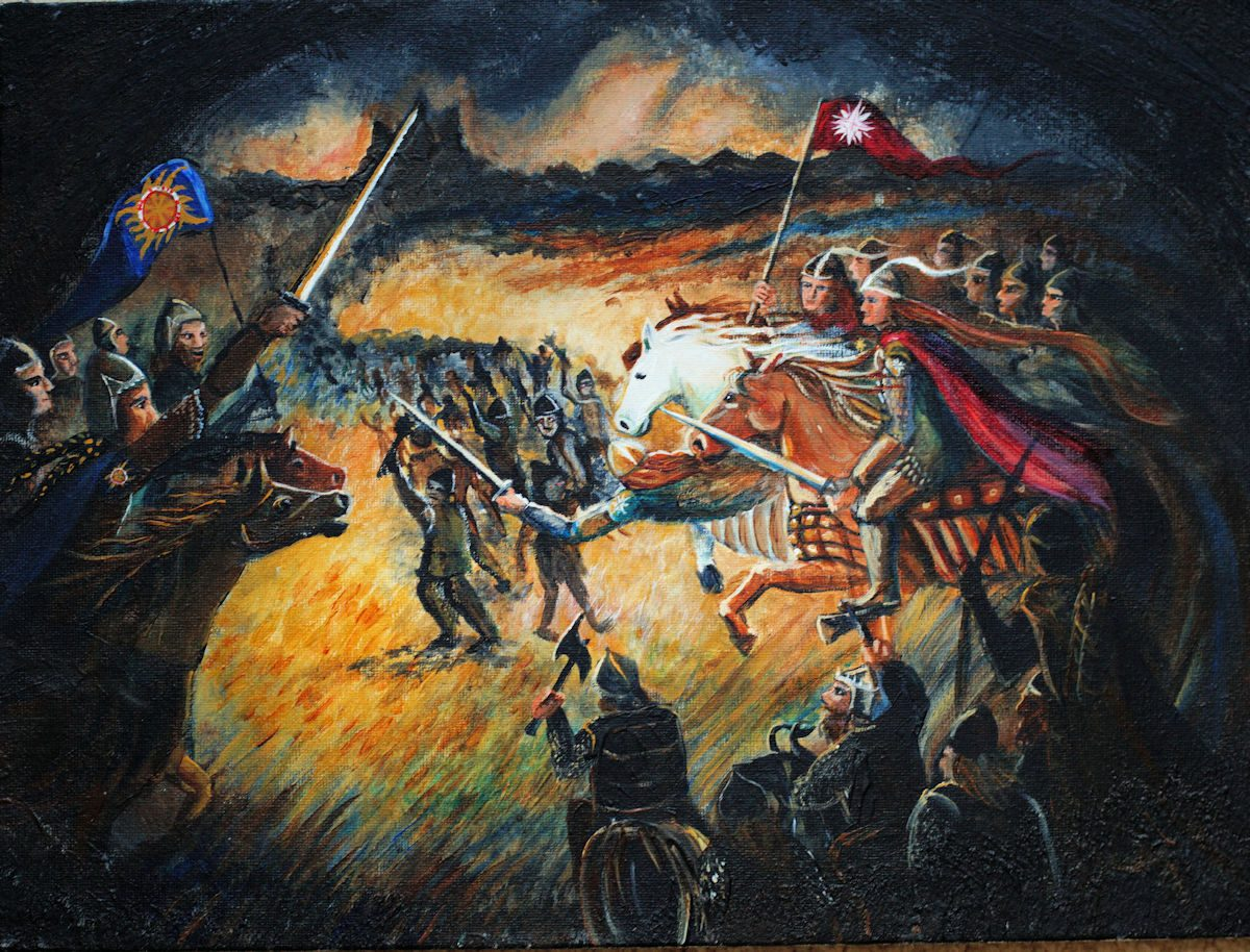 Two Battle Scenes: one in ink and pastel, one in acrylic