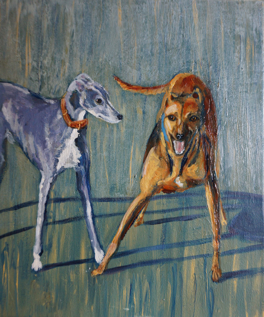 Greyhound and Lurcher painting