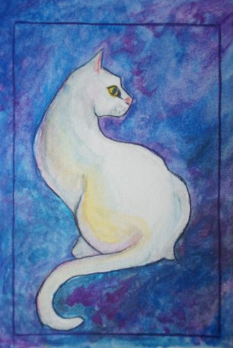 White Cat Watercolour