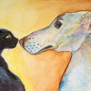 Saluki and kitten watercolour
