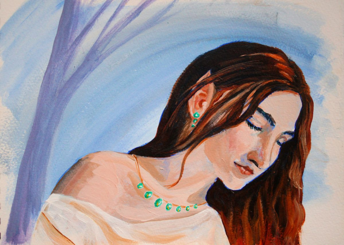 A4 acrylic portrait of an Elven Lady